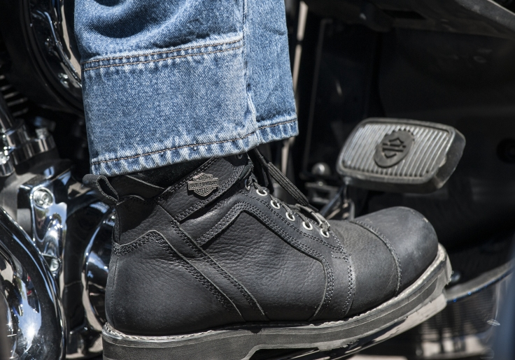 Closeup of mans boot